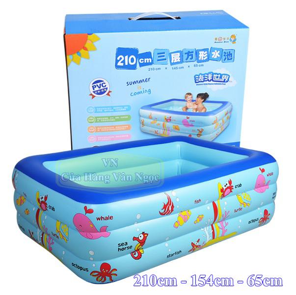 Bể bơi phao hình chữ nhật cho Bé 2m1